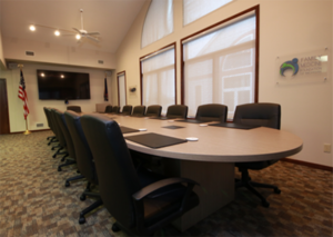 automated shades in conference room blinds window treatments