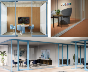 enclose frameless glass with openest booths in open space